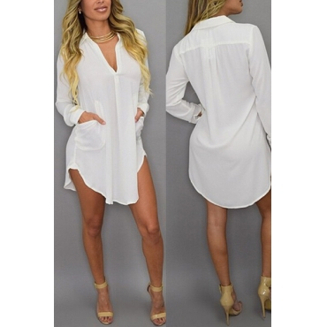 Fashion Turndown Collar Long Sleeves Pockets Design Asymmetrical Solid White Polyester Shirt