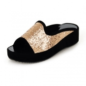 Casual Low Heel Golden PU Slippers