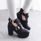 Fashion Round Closed Toe Chunky Super High Heel Bl