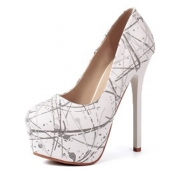 Fashion Round Closed Toe Print Platform Stiletto S