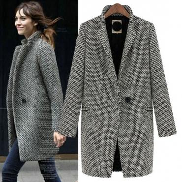 Fashion Turndown Collar Three Quarter Sleeves Single-breasted Regular Wool Coat