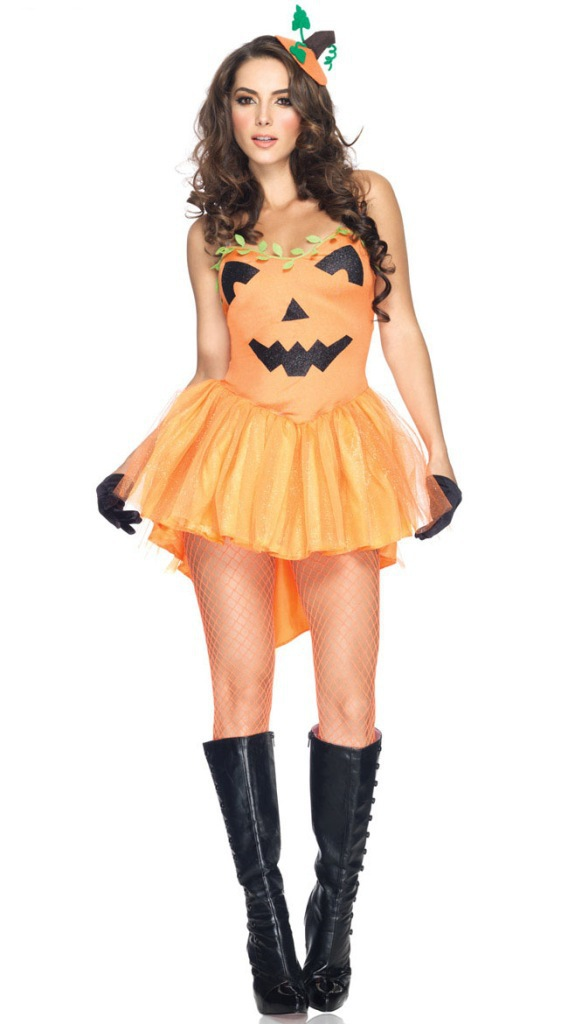 Sexy Polyester Halloween Pumpkin Cosplay Costume(Headwear+Dress)_ ...