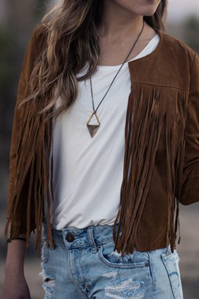 Fashion O Neck Long Sleeves Front Tassel Design Brown Regular Coat