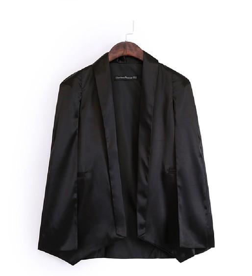 Fashion Asymmetrical Black Polyester Blazer<br>