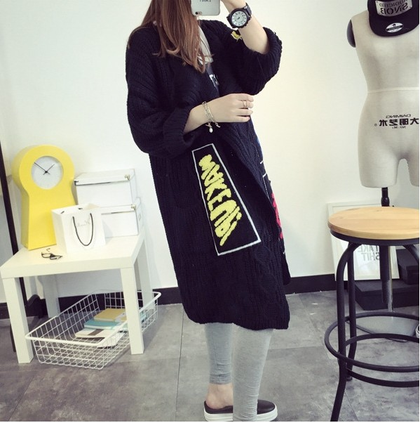 Korean Style Long Sleeves Patchwork Black Blending Long Cardigan Sweater