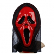 Halloween Screaming Face Red PVC Mask
