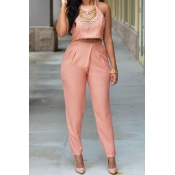 Fashion O Neck Sleeveless Pink Silky Two-piece Pan