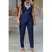 Fashion O Neck Sleeveless Blue Silky Two-piece Pan