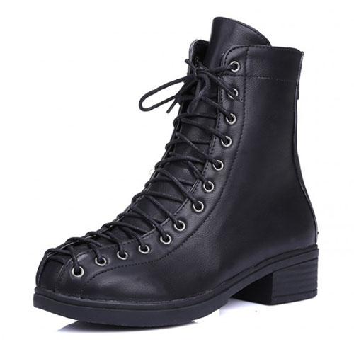 Primavera Otoño Moda Toe Ronda-Chunky Talón Mediano Negro PU Botines Ankle Martens