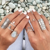 Fashion Engraved Silver Metal Rings