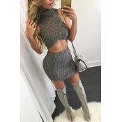 Sexy Turtleneck Sleeveless Grey Cotton Blend Two-piece Skirt Set