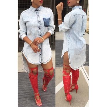Stylish Turndown Collar Long Sleeves Single-breasted Asymmetrical Blue Denim A Line Mini Shirt Dress