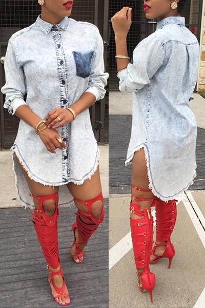Collar de manga corta con estilo de manga larga de un solo pecho de mezclilla azul asimétrico una línea vestido de camisa mini