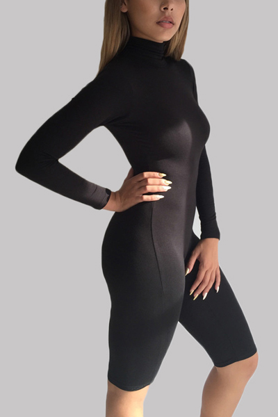 Sexy Turtleneck Long Sleeves Solid Black Spandex One Piece