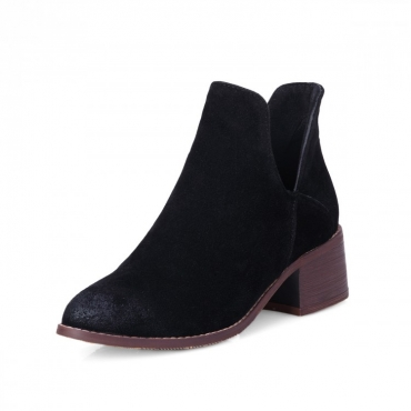 Spring Autumn Fashion Pointed Toe Slip-on Chunky Mid Heel Black PU Ankle Martens Boots