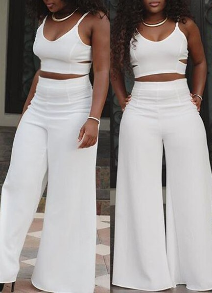 Lovely Sexy V Neck Spaghetti Strap Sleeveless Hollow-out White  Two-piece Pants Set