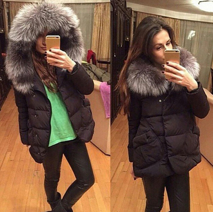Fashion Fur Collar Zipper Design Black Regular Parka