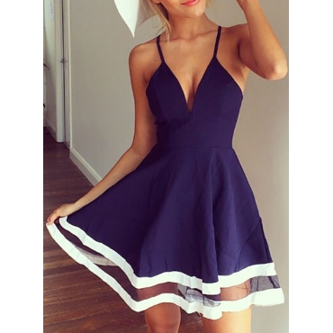 Sexy V Neck Spaghetti Strap Sleeveless Organza Patchwork Blue A Line Mini Dress