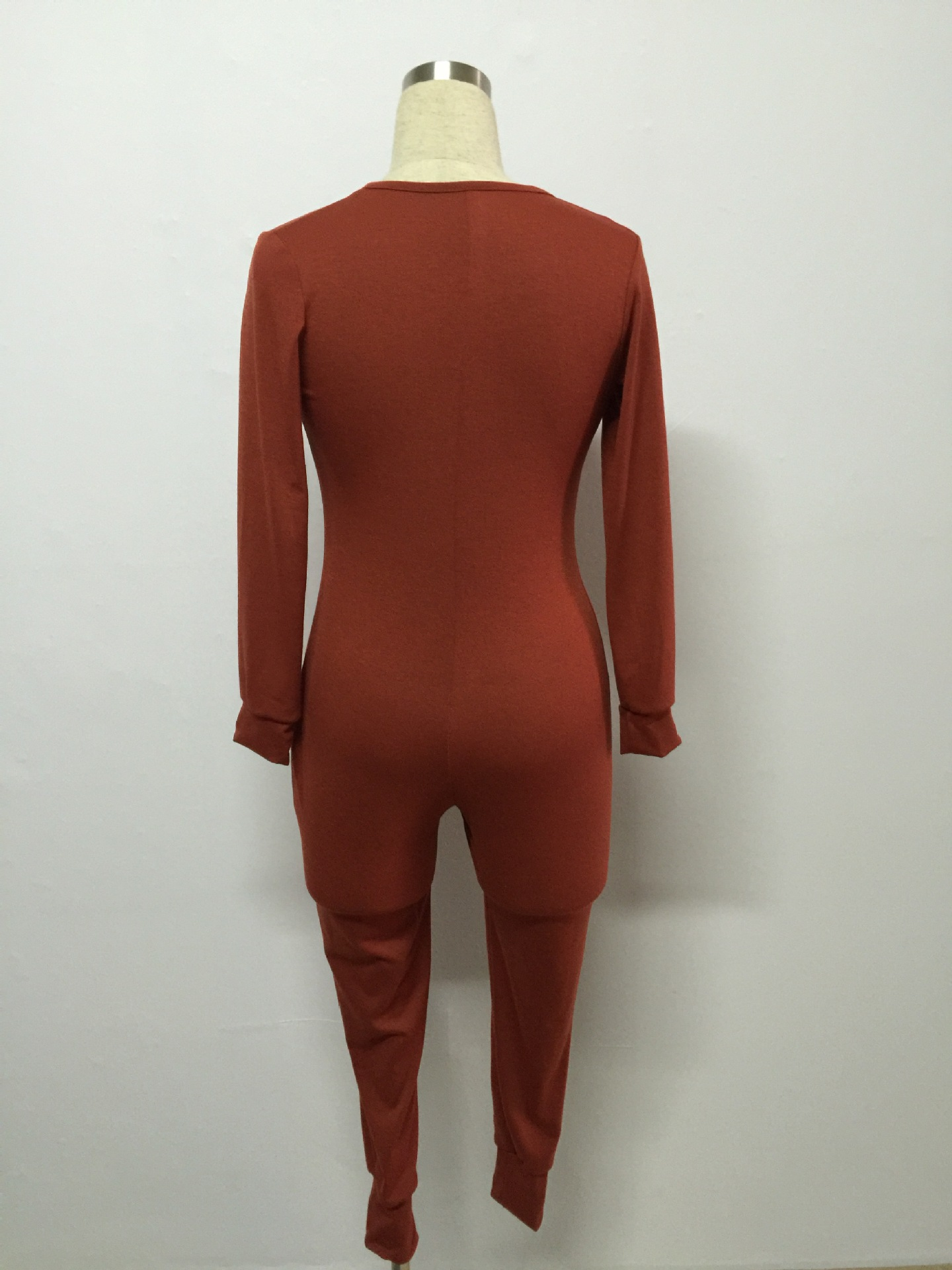Slim V Neck Long Sleeves Single-breasted Red Cotton Blend One-piece Skinny Jumpsuit