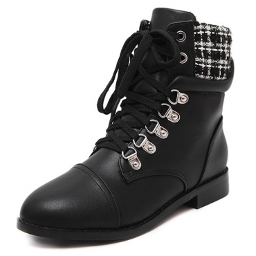 Winter Round Toe White Plaids Patchwork Lace Up Platform Flat Low Heel Black PU Short Motorcycle Boots