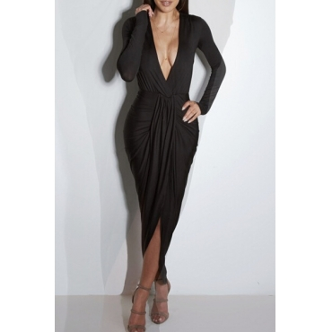 Sexy V Neck Long Sleeves Front Split Ruffles Design Black Polyester Sheath Mid Calf Dress