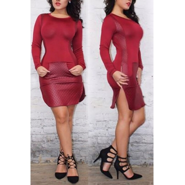Fashion O Neck Long Sleeves Side Split Red Polyester Sheath Mini Dress