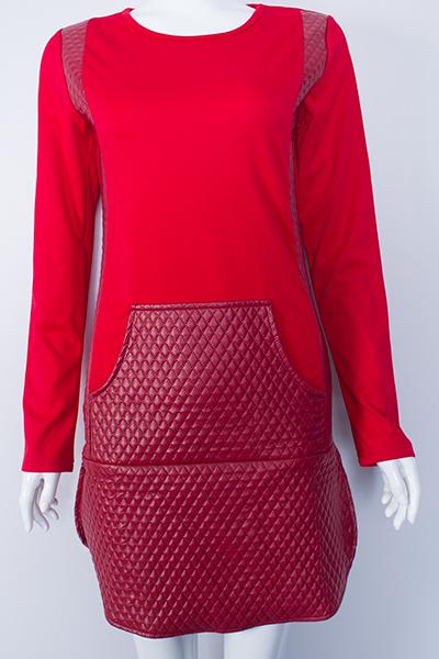 Fashion O Neck Long Sleeves Side Split Red Polyester Sheath Mini Dress