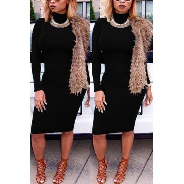 Fashion Turtleneck Long Sleeves Black Cotton Blend Sheath Knee Length Dress
