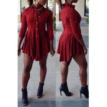 Casual O Neck Long Sleeves Single Breasted Ruffles Design Red Polyester Mini Dress