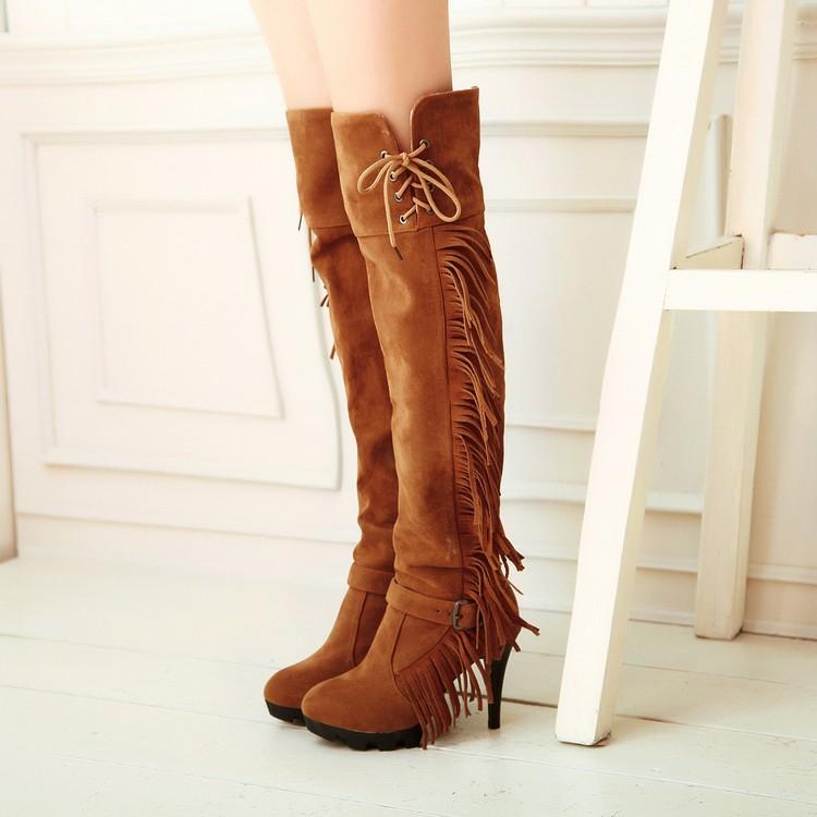 Rodada Moda Inverno Toe Stiletto Super Salto Alto deslizamento amarelo PU On Over as botas até o joelho Tassel