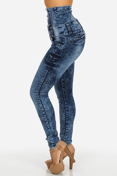 Stylish High-Waisted  Button Decoration Blue Denim Skinny Jeans