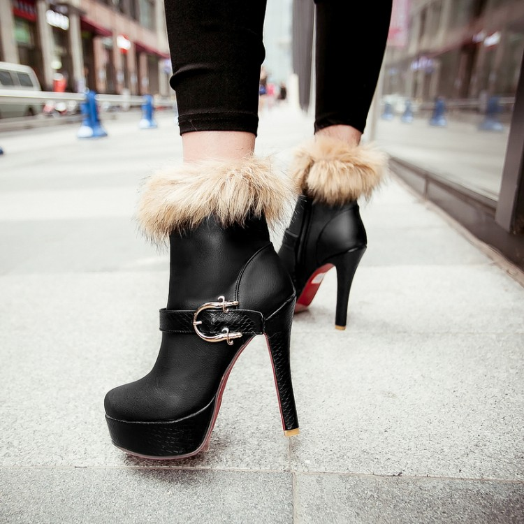 Winter Round Toe Buckle Zipper Design Stiletto Super High Heel Black PU Ankle Martin Boots