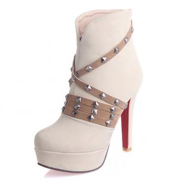 Winter Round Toe Back Zipper Rivet Decorado Stiletto Super High Heel Beige PU Ankle Martin Boots