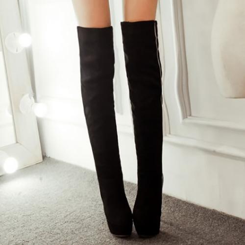 Moda Inverno Toe Red Slip On Patchwork Stiletto Super High Heel Preto PU Sobre O Joelho Cavalier Botas