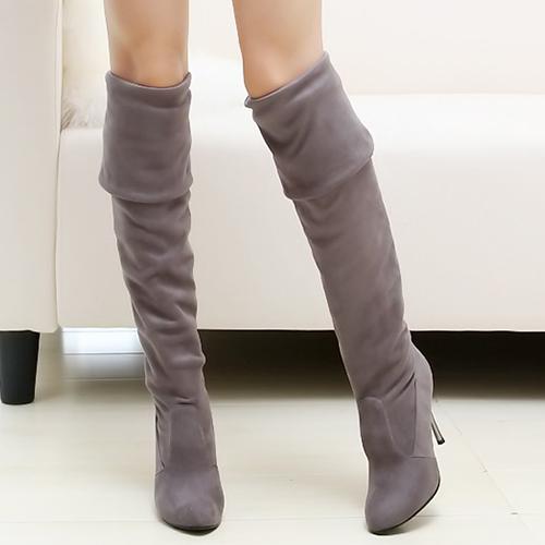 Winter Fashion Round Toe Slip on Stiletto High Hee
