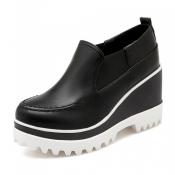 Casual Round Toe High Heel Platform Black PU  Shoe