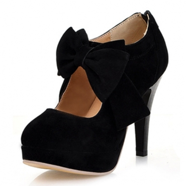 Stylish Round Closed Toe Front Bow Tie Embellished  Stiletto High Heels Black Leather Pumps