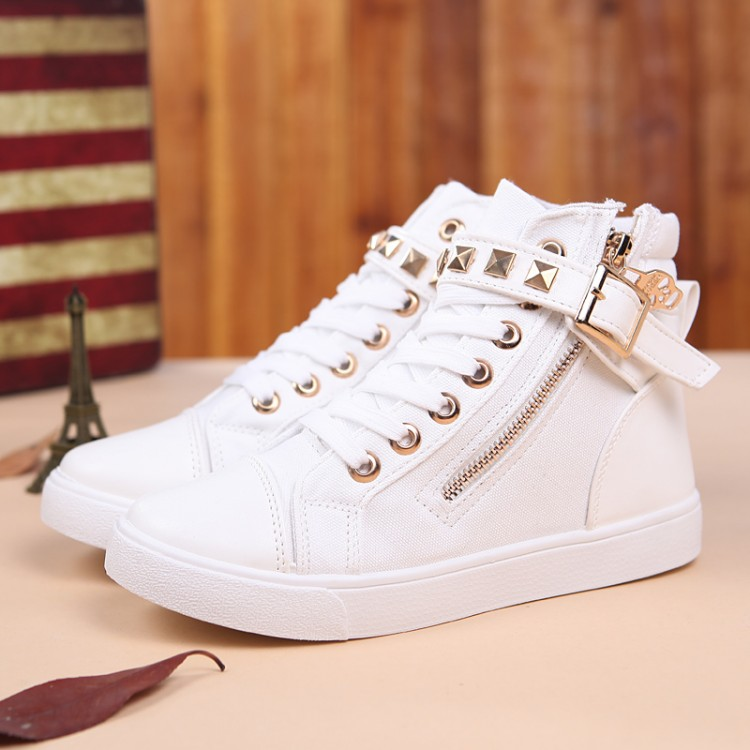 Fashion Round Closed Toe Patchwork Buckle Belt Rivets Decorated Lace-up Wedges Mid Heel White Suede Basic Pumps