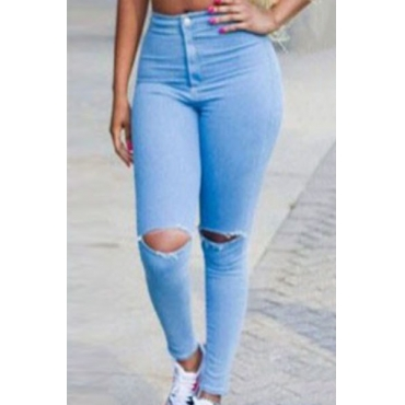 Fashion Hole-cut Button Fly Blue Spandex Mid Skinny Pants