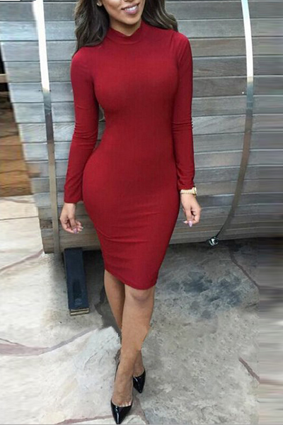 Sexy Cultivate One's Morality Mandarin Collar Long Sleeves Back Knitted Hollow-out Red Cotton Blend Sheath Knee Length Dress