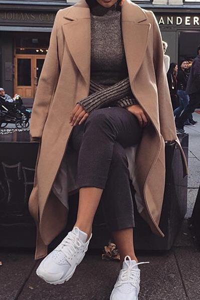 Fashion Turndown Collar Long Sleeves Khaki Woolen Overcoat