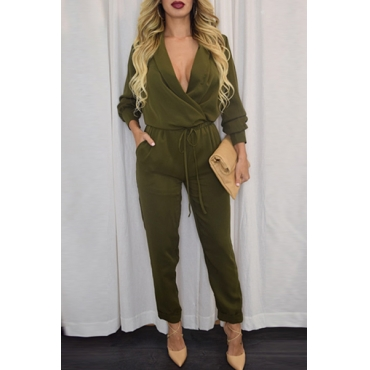 Trendy V Neck Long Sleeves Solid Army Green Polyester One-piece Regular Jumpsuit