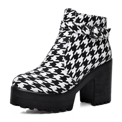 Winter Round Toe Cremallera Diseño Hebilla Patchwork Chunky Super Alto Talón Negro PU Tobillo Cavalier Boots