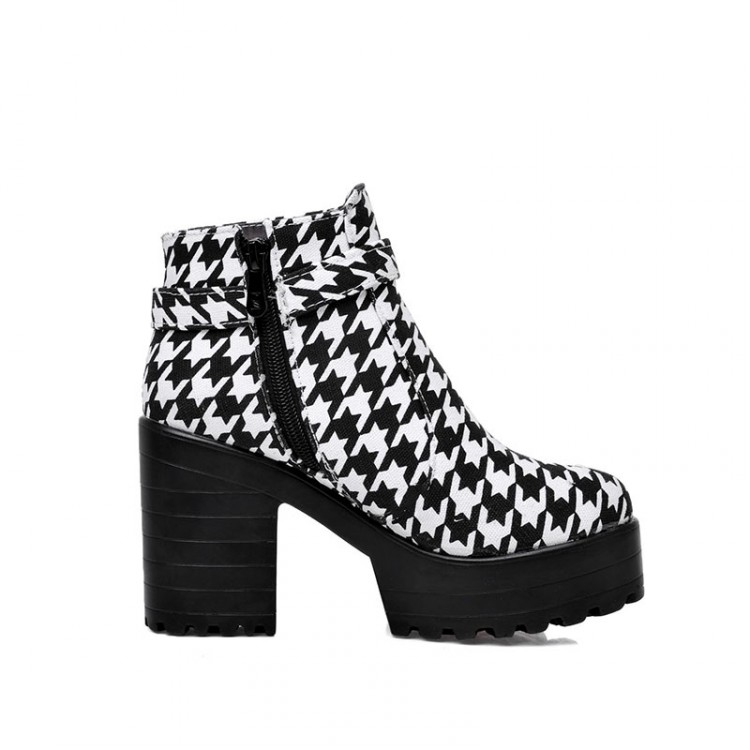 Winter Round Toe Zipper Design Buckle Patchwork Chunky Super High Heel Black PU Ankle Cavalier Boots