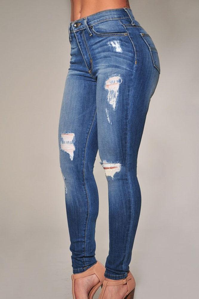 Fashion Mid Waist Broken Holes Blue Polyester Skinny Pants