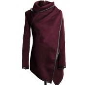 Fashion Turtleneck Long Sleeves Wine Red Woolen Overcoat