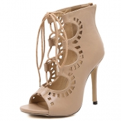 Fashion Round Peep Toe Lace-up Hollow-out Stiletto