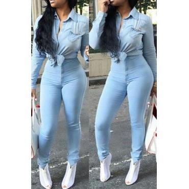 Stylish High-Waisted Button Fly Light Blue Denim Skinny Pants