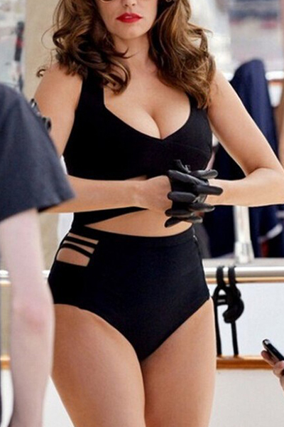 Sexy Solid Black Cut-out Two-piece Swimwear