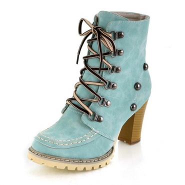 Winter Round Toe Rivets Lace Up Chunky High Heel Blue Suede Short Martens Boots